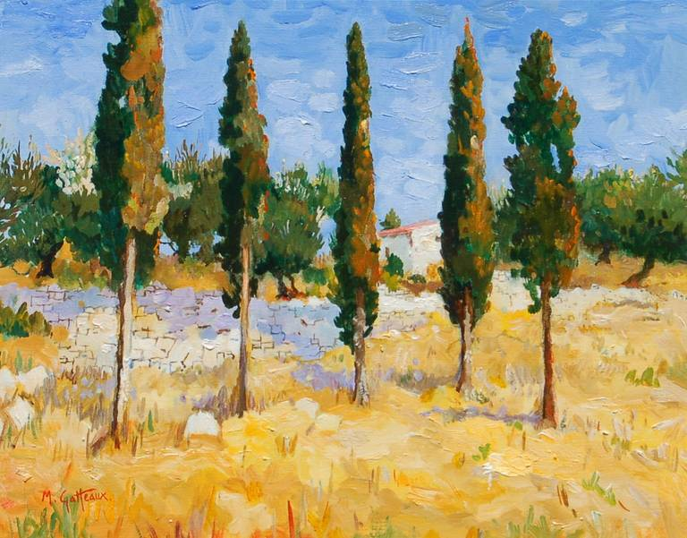 Tall Trees in Greece - Painting by Marcel Gatteaux