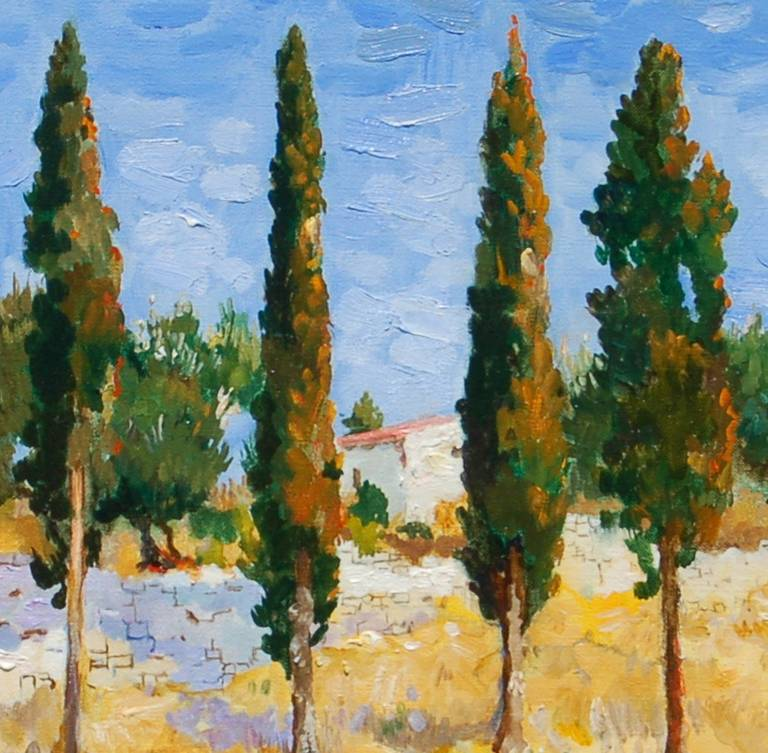 Tall Trees in Greece - Post-Impressionist Painting by Marcel Gatteaux