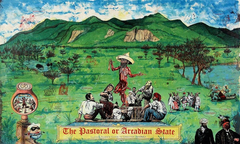 Enrique Chagoya Print - The Pastoral or Arcadian State: An Illegal Alien's Guide to Greater America