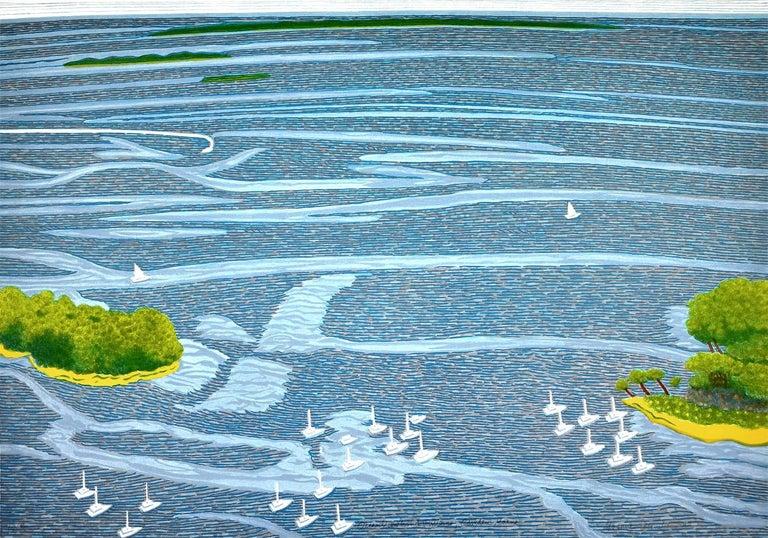 Yvonne Jacquette Landscape Print - Ocean View Wind Patterns, Camden Maine