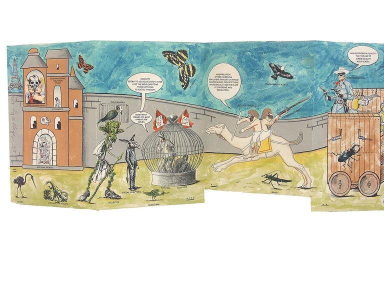 Histoire Naturelle des Espécies: Illegal Alien's Manuscript - Gray Print by Enrique Chagoya