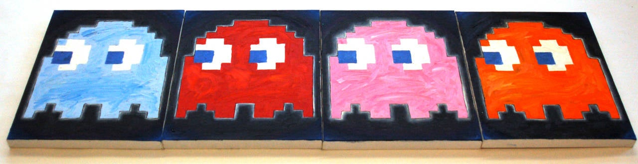 Patrick Lichty Abstract Painting - Pac-Man Ghosts (set of 4)