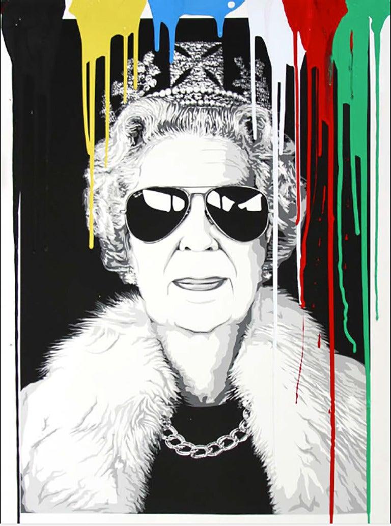Mr brainwash queen aviator 2 painting at 1stdibs for Mural painted by street artist mr brainwash