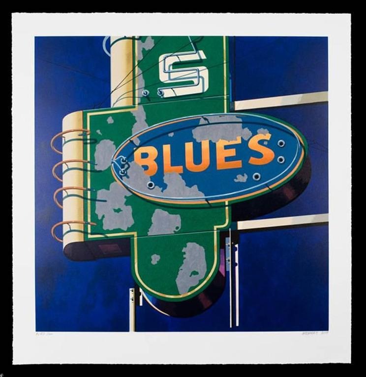 Robert Cottingham Abstract Print - Blues, from American Signs portfolio