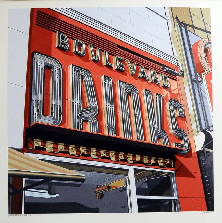 Drinks, from American Signs portfolio - Print by Robert Cottingham