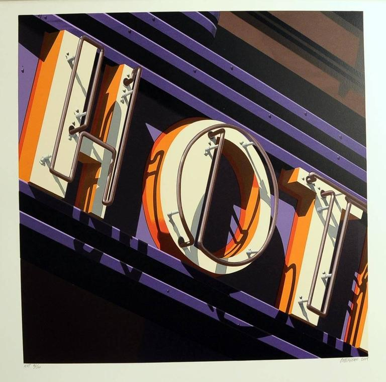 Hot, from American Signs Portfolio - Photorealist Print by Robert Cottingham