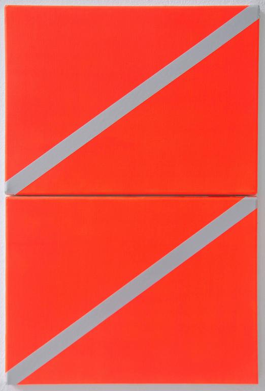 Leandros Pigades Abstract Painting - Two Flags