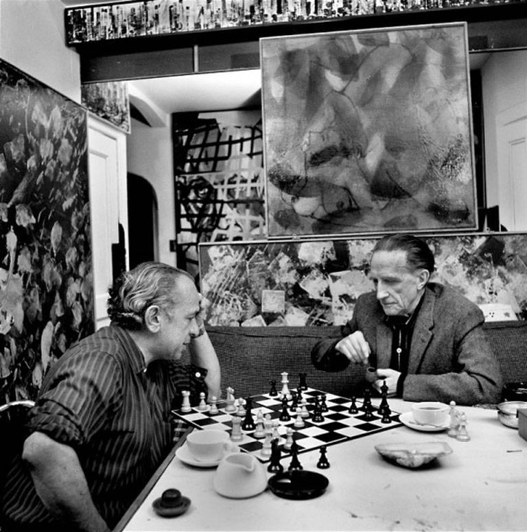 Ormond Gigli Black and White Photograph - Xanti Schawinsky and Marcel Duchamp playing Chess, New York