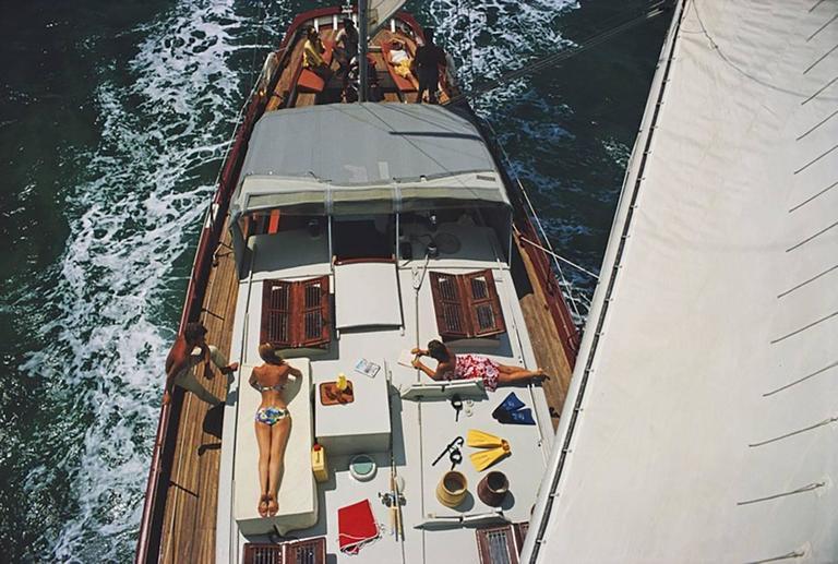 Slim Aarons Color Photograph - Deck Dwellers