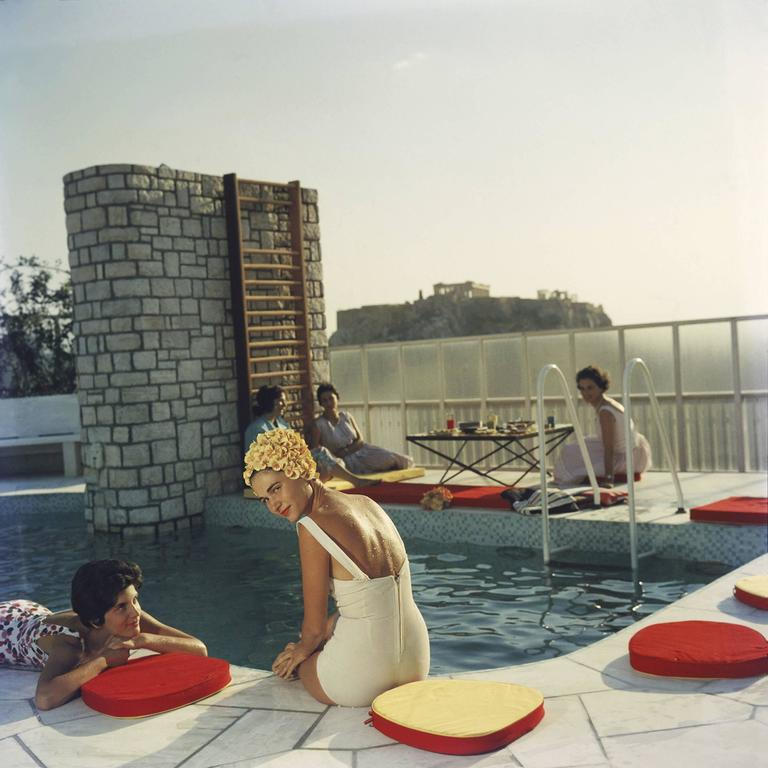 Penthouse Pool, Athens (Slim Aarons Estate Edition) - Photograph by Slim Aarons