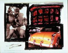Two Pinup Boys Boxing with Cuba Car