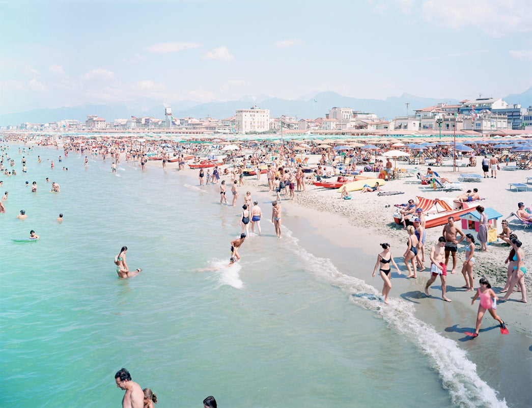 Viareggio Red Fin, 2002 Offset Lithograph printed on Consort Royal 300gm paper 26 х 33.75 in. (66.04 x 85.72 cm.) Stamped with artist's credit and edition on verso Edition 120  Massimo Vitali was born in Como, Italy, in 1944. He moved to