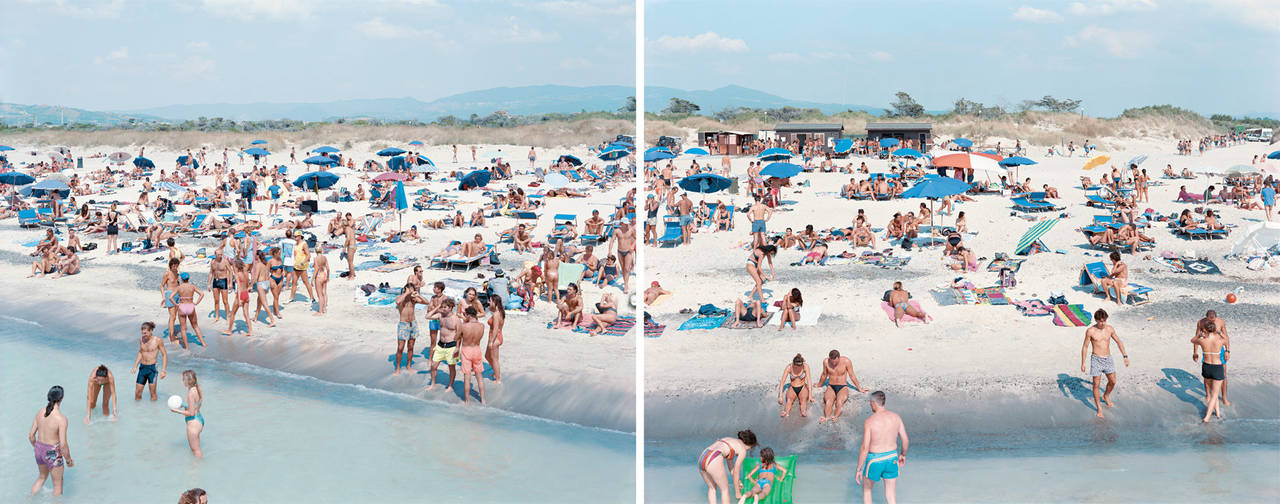 Massimo Vitali Color Photograph - Rosignano Diptych, from the portfolio Landscape with Figures