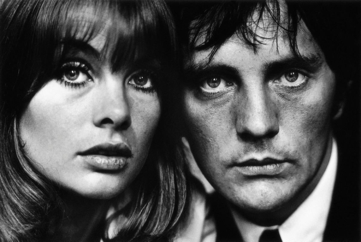 Terry O'Neill Black and White Photograph - Jean Shrimpton and Terence Stamp, London