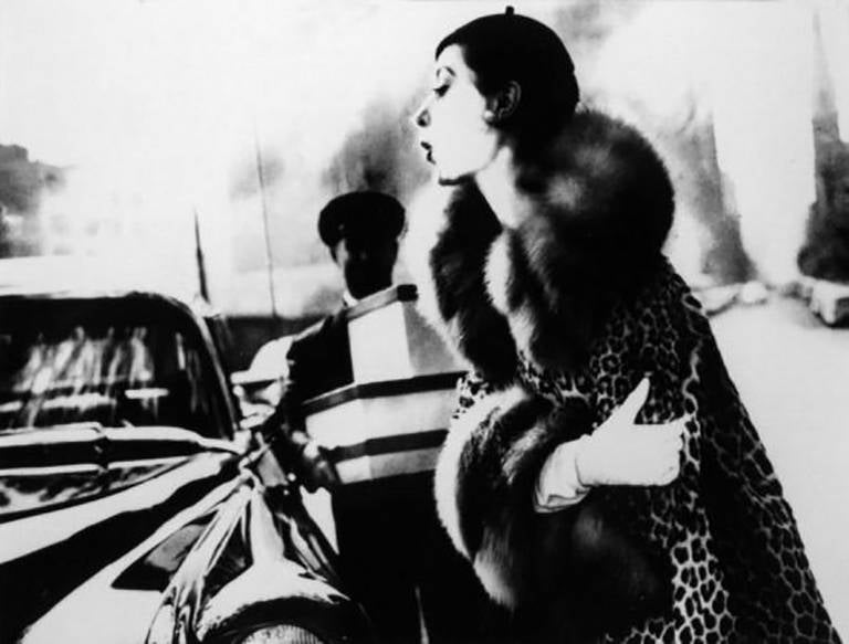 The Spotted Furs, Furred: Barbara Mullen in a coat by Traina-Norell, New York