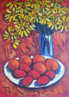 Still life, Yellow Flowers in Red