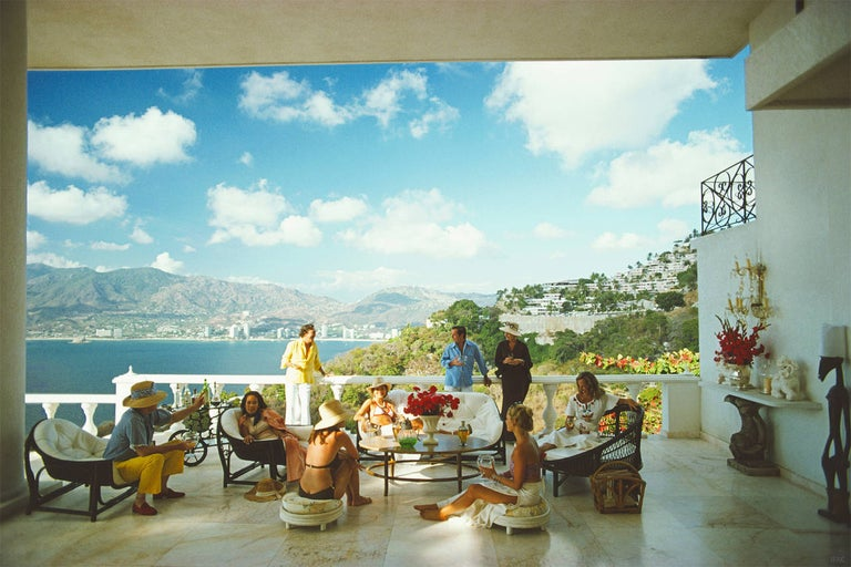 Slim Aarons Color Photograph - Guests at the Villa Nirvana (Aarons Estate Edition)