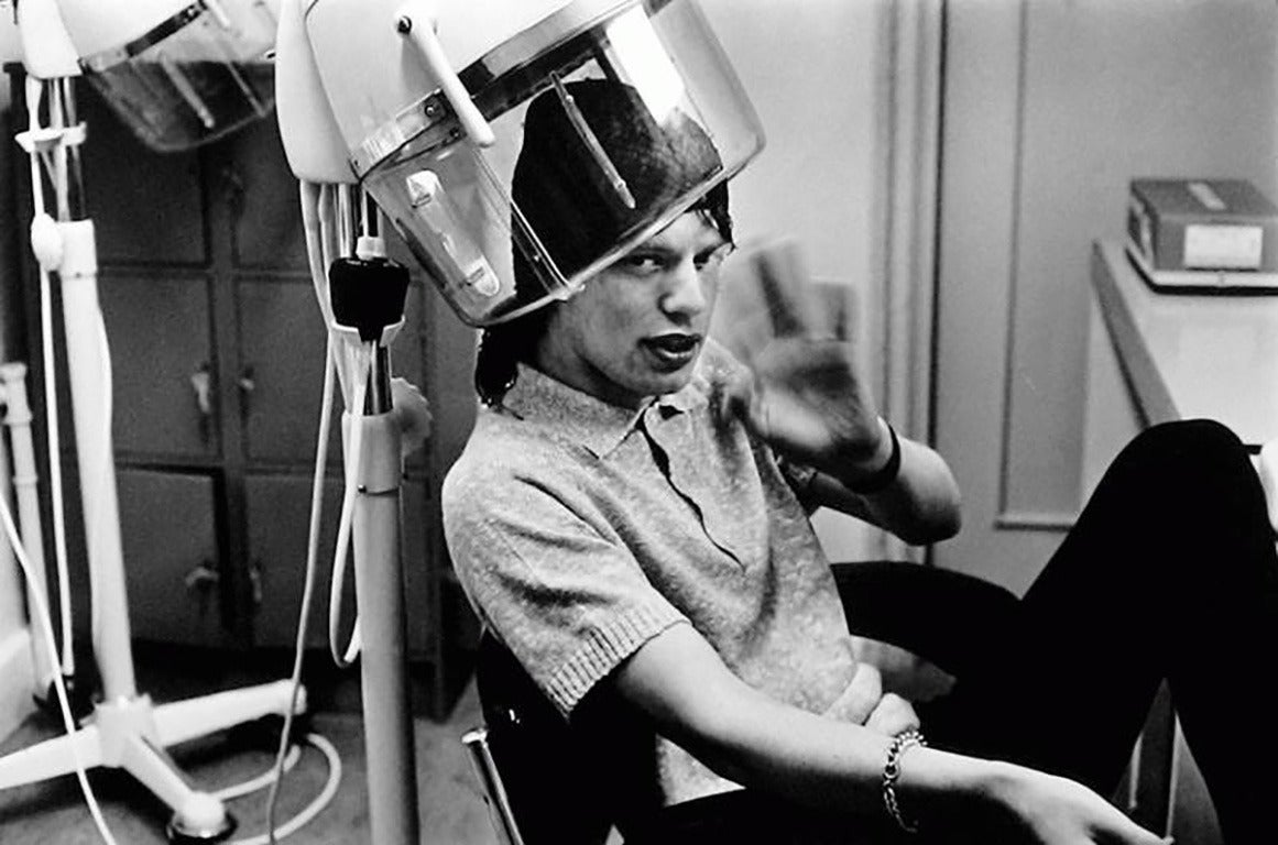 Mick Jagger at the hairdresser