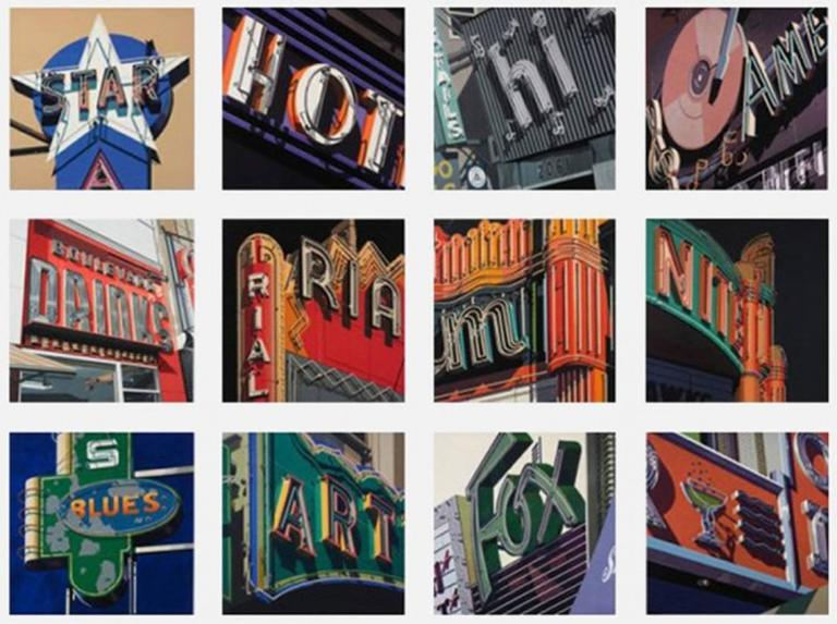 Blues, from American Signs portfolio - Photorealist Print by Robert Cottingham