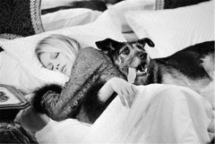 Brigitte Bardot with dog, on set of Les Novices
