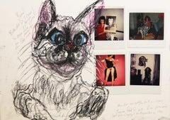 Auto-portrait Polaroids with with Chat Yuma du Teresa Patterson