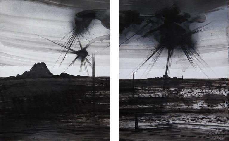 Michael Ricardo Andreev Landscape Art - Plasma Flares with Contrails at Dusk 1
