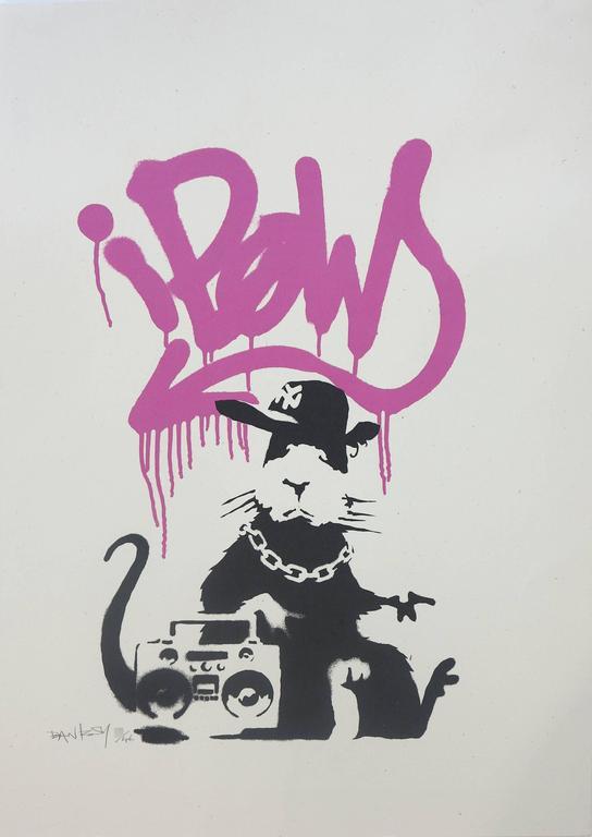 Banksy Animal Print - Gangsta Rat (Pink)
