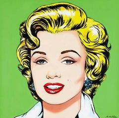 Cabeza de Marilyn fondo verde
