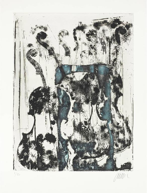 Fernandez Arman Figurative Print - Noir et bleu.