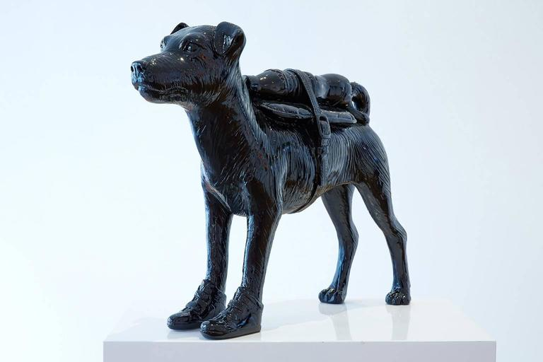 William Sweetlove Figurative Sculpture - Cloned Jack Russell with pet bottle.