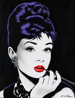 Audrey con pipa fondo negro