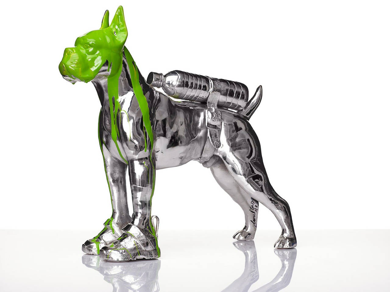 Cloned Bulldog with pet bottle. - Sculpture by William Sweetlove