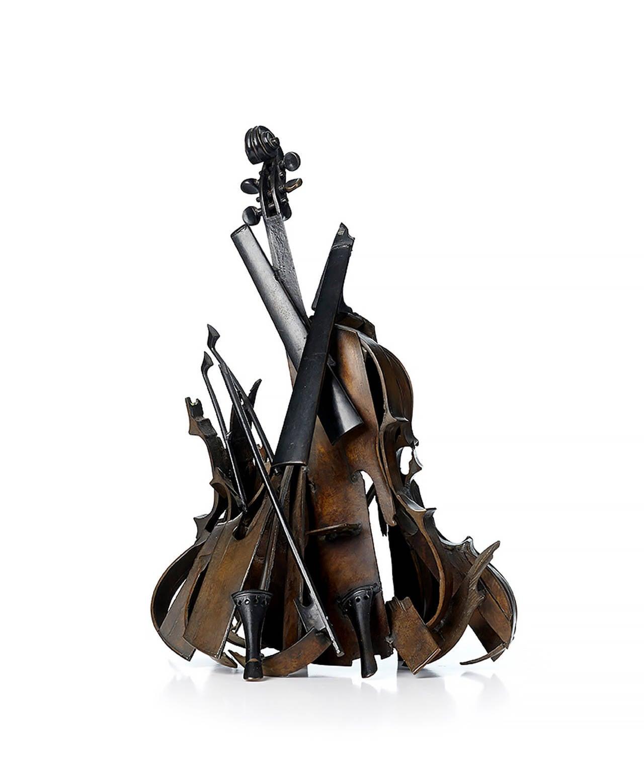 "Fernandez Arman Figurative Sculpture - ""Pyraviole II"" Violons découpes"