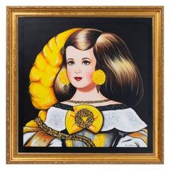 Menina con pluma amarilla.