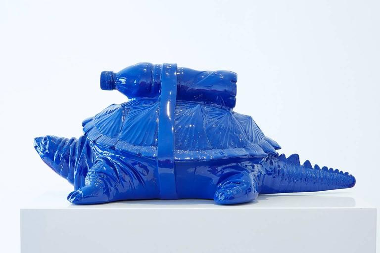 Cloned Turtle with pet bottle. - Sculpture by William Sweetlove