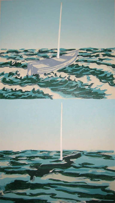 Richard Bosman Landscape Print - Sunken Boat
