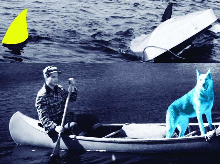 John Baldessari Figurative Print - Man, Dog (Blue), Canoe/Shark Fins (One Yellow), Capsized Boat