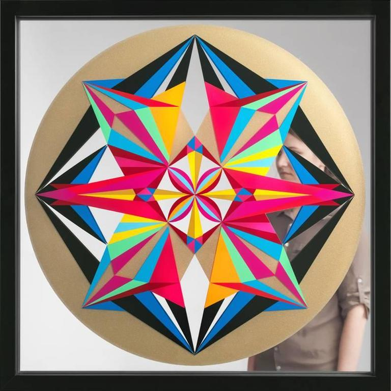 Untitled, screenprint on mirror by Carlos Rolon (gold, pink) - Abstract Geometric Mixed Media Art by DZINE (Carlos Rolon)