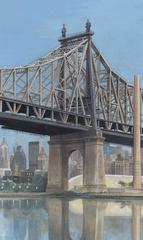 Queensborough Bridge with View of Manhattan below Roadway.