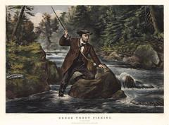 """Brook Trout Fishing. :  """"An Anxious Moment."""""""