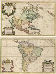 Alexis Hubert Jaillot - L'Amerique Septentrionale.  L'Amerique Meridionale.