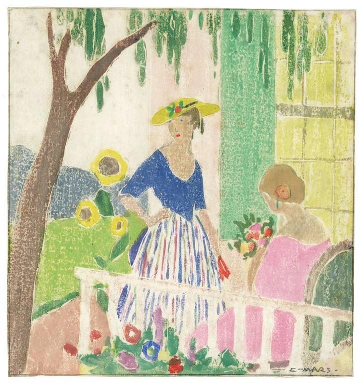 Ethel Mars Figurative Print - In the Garden