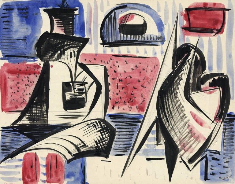 Werner Drewes Abstract Drawing - Untitled. Forms.