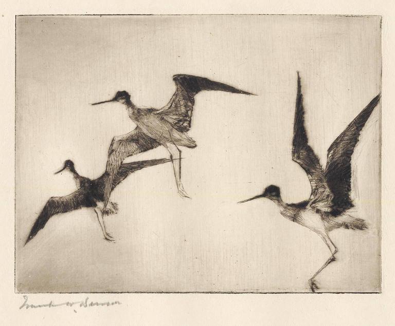 Frank Benson Print - Three Yellowlegs.