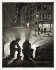 Martin Lewis - Arc Welders at Night.