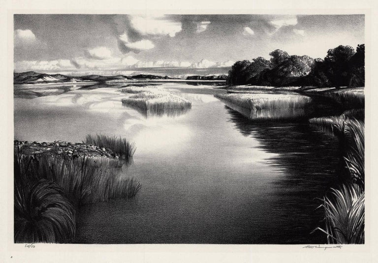 Stow Wengenroth Landscape Print - Lonely River.