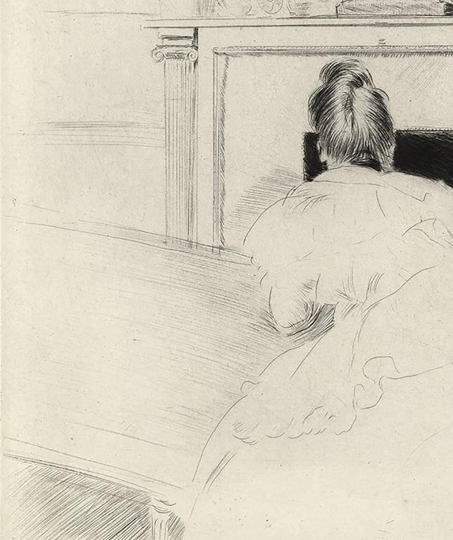 Mme. Helleu by the Fireplace - Post-Impressionist Print by Paul César Helleu