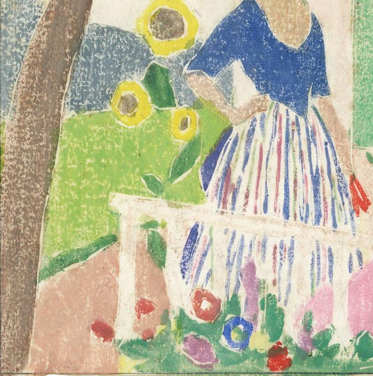 In the Garden - American Modern Print by Ethel Mars