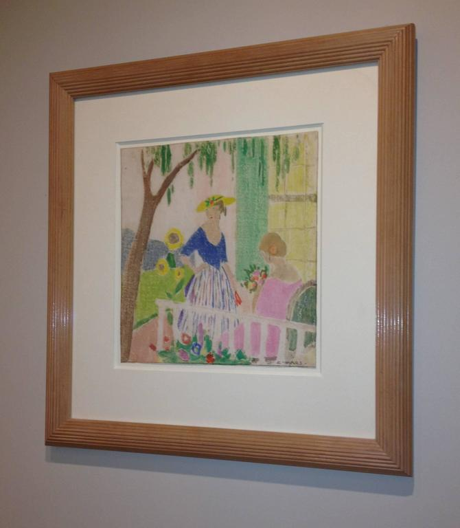 In the Garden - Beige Figurative Print by Ethel Mars