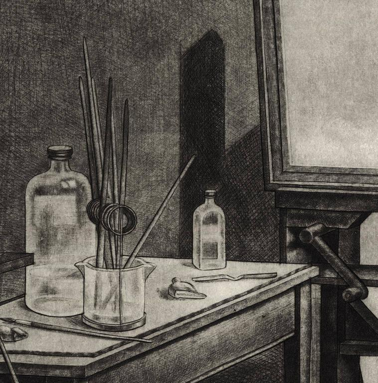 Studio Interior #2. - American Realist Print by Armin Landeck